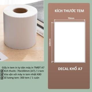Giấy in nhiệt A7 70x100mm in đơn hàng, tem, mã vạch, phiếu gửi hàng, decal, dán,cho máy in bill và máy in nhiệt Khổ K80 thumbnail