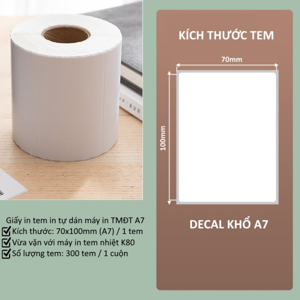 Giấy in nhiệt A7 70x100mm in đơn hàng, tem, mã vạch, phiếu gửi hàng, decal, dán,cho máy in bill và máy in nhiệt Khổ K80