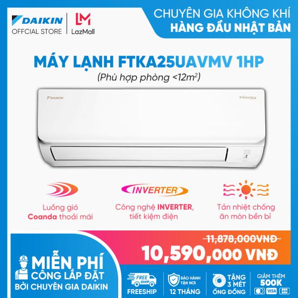 Máy Lạnh Daikin Inverter FTKA25UAVMV 1HP [Giảm 10% khi thanh toán qua thẻ] (9000BTU) - Tiết kiệm điện - Luồng gió Coanda - Độ bền cao - Chống Ăn mòn - Chống ẩm mốc - Làm lạnh nhanh - Hàng chính hãng