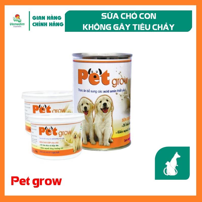 Vemedim Pet Grow sữa cho chó con không gây tiêu chảy, chứa acid amin dễ tiêu hóa và hấp thu.