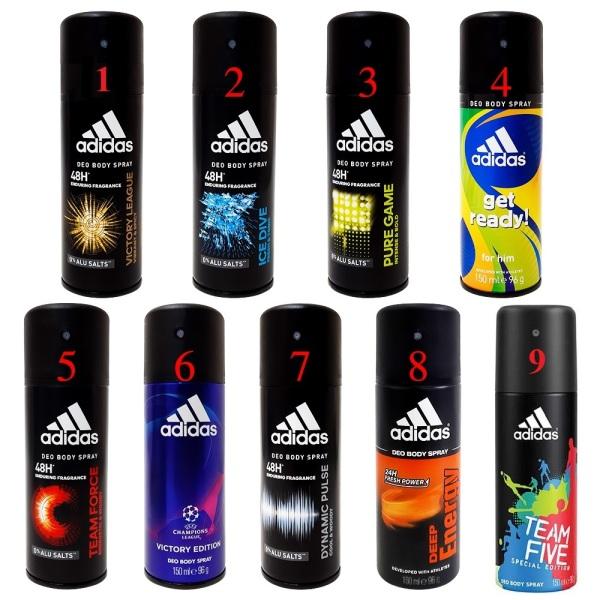 Bộ 3 Xịt khử mùi toàn thân cho nam Adidas - 150 ml x 3 (mùi ngẫu nhiên) nhập khẩu