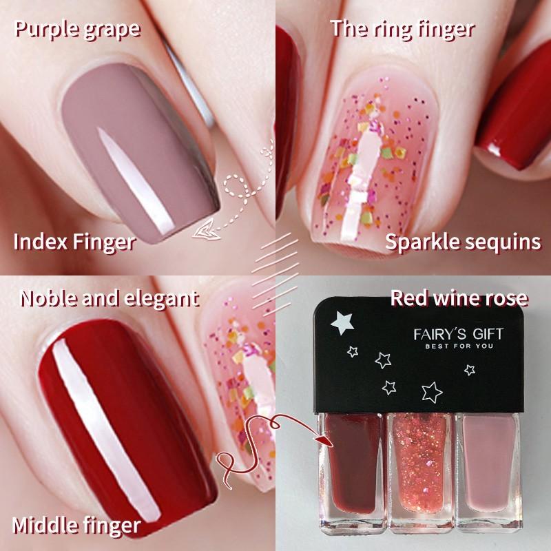 SAINYE 3 cái / bộ Sơn móng tay không thấm nước Sơn móng tay màu hồng khô nhanh và lâu trôi  N8039 giá rẻ