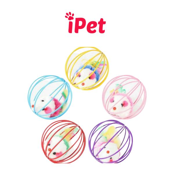 [HCM]Quả Bóng Lồng Sắt Có Chuột Giả Đồ Chơi Cho Chó Mèo - iPet Shop
