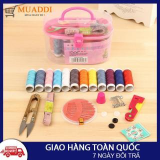 Bộ kim chỉ đa năng 55 món mini may vá tiện dụng dùng trong gia đình, đầy đủ đụng cụ xâu chỉ, kim chỉ màu, ghim băng, cắt chỉ, thước dây,... thumbnail