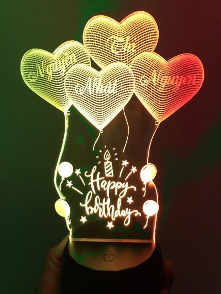 Bảng giá Đèn ngủ led 3D 16 màu HAPPY BIRTHDAY, Đèn led khắc hình theo yêu cầu, đèn khắc hình cá nhân, đèn để bàn, đèn ngủ, đèn trang trí, quà tặng sinh nhật, quà tặng người thân bạn bè