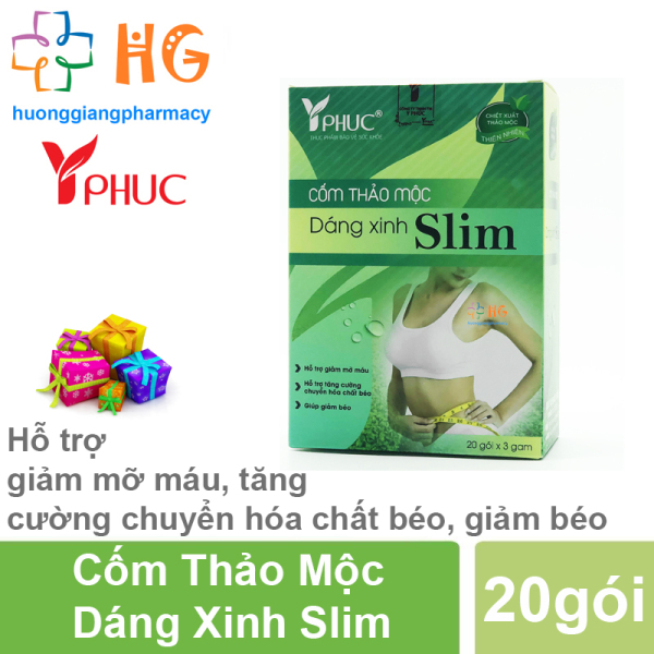 Cốm Thảo Mộc Dáng Xinh Slim - Hỗ trợ giảm mỡ máu, tăng cường chuyển hóa chất béo, giảm béo, giảm cân (Hộp 20 gói)