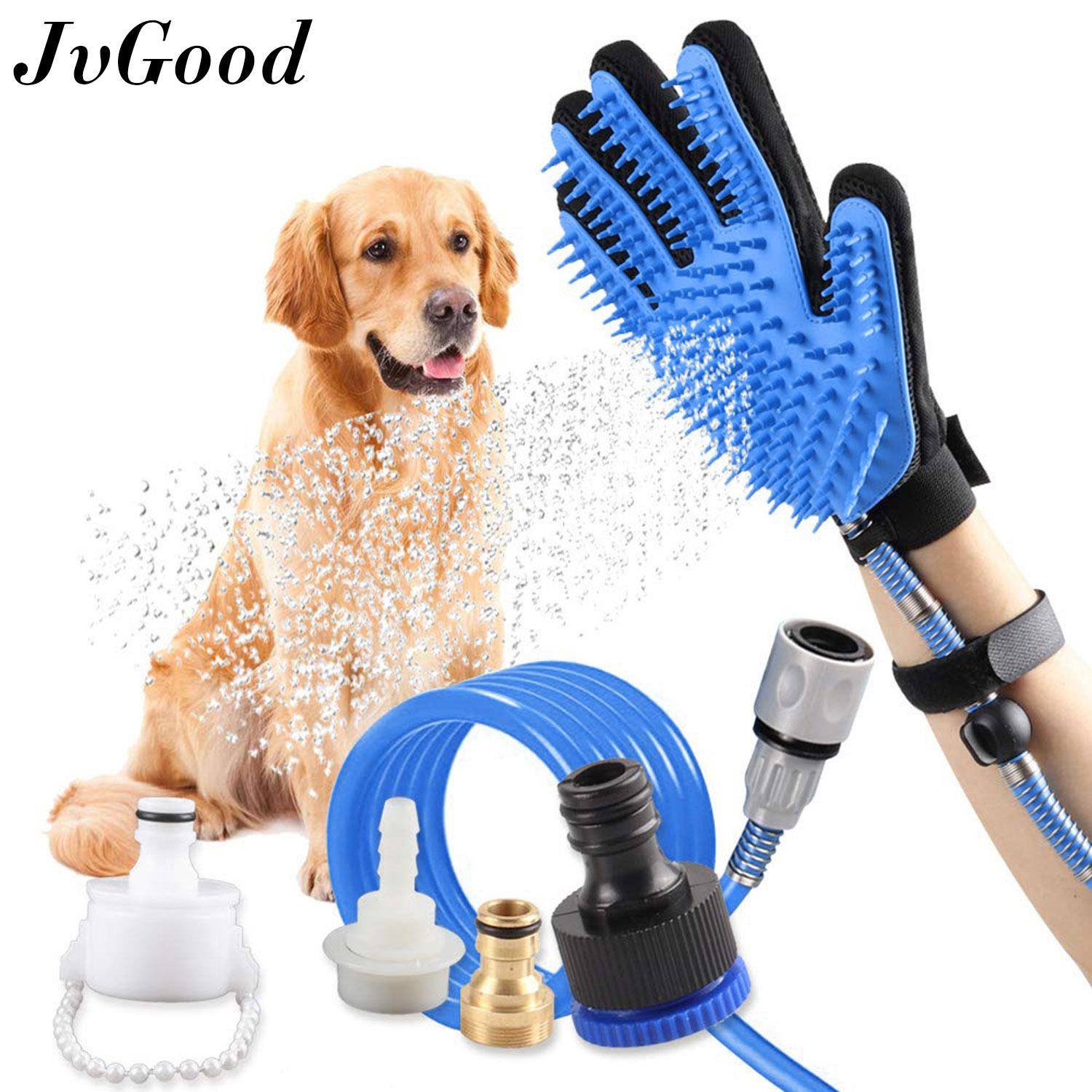 Jvgood Pet Bathing Grooming Gloves Deshedding Brush Glove Pet Shower Sprayer Scrubber Pet Hair Remover Glove Dog Cat Gentle Efficient Massage Grooming Pet Bath Clean Brush Gloves With 3 Faucet Adapters By Jvgood.