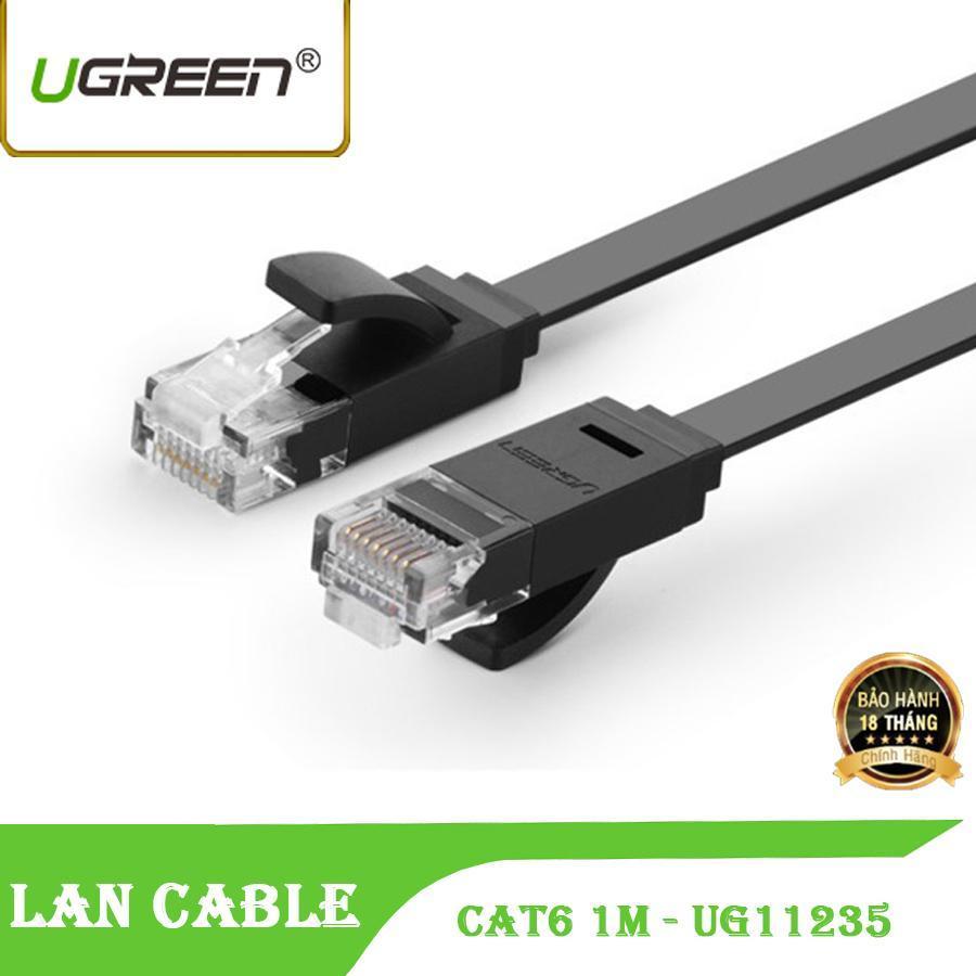 Dây cáp mạng CAT6 UTP 2 đầu đúc sẵn Ugreen NW104 11235 - dây mòng dẹt màu đen 1M tốc độ 1 Gbps