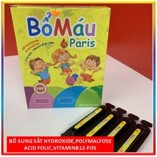 Siro Bổ máu Paris cho bà bầu và trẻ từ 1 tuổi - Bổ sung sắt, Acid Folic Vitamin B9, B12 - Dạng siro an toàn, dễ uống - Hộp 20 ống 10ml- Chuẩn GMP Bộ Y tế thumbnail