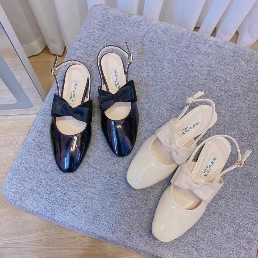 Giày cao gót nữ phối nơ 2 màu siêu xinh giá rẻ