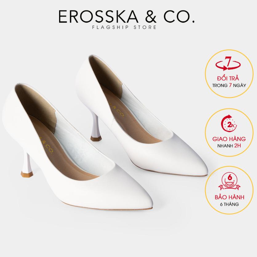 Giày cao gót Erosska thời trang mũi nhọn kiểu dáng cơ bản cao 8cm EP010 (WH) giá rẻ