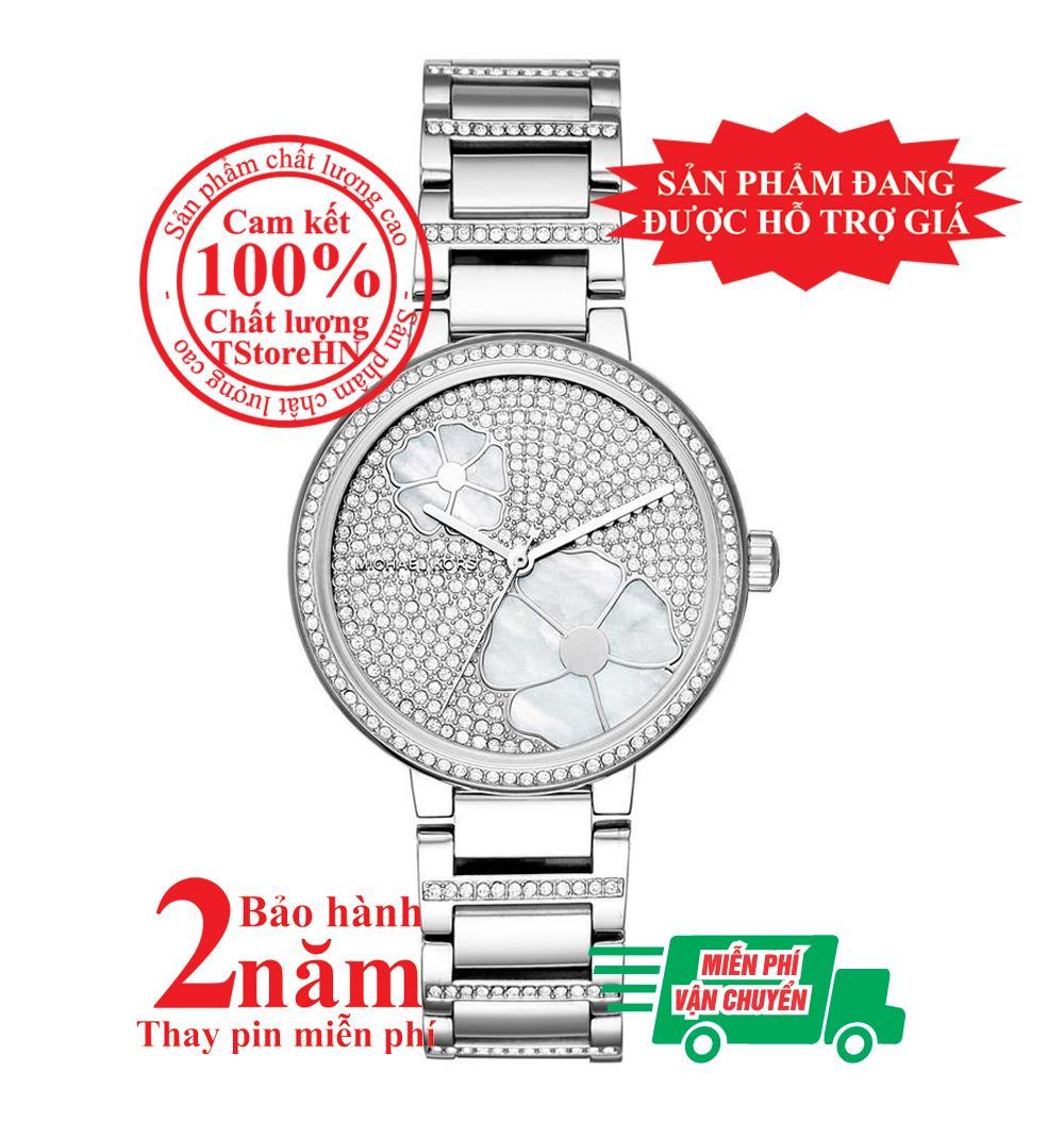 Nơi bán Đồng hồ nữ Michael Kors Courtney  MK3835- Vỏ, mặt và dây màu Bạc (Silver), mặt đồng hồ và viền nạm đá pha lê Swarovski, size 36mm