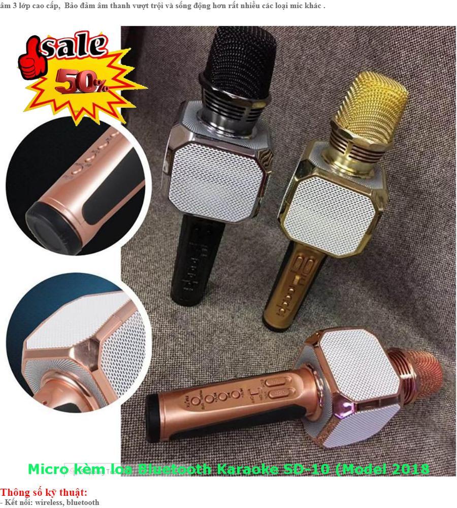 Mic Hát,Mic Bluetooth,Micro Kèm Loa Bluetooth Karaoke Sd-10 (Model 2018 Cực Hay)
