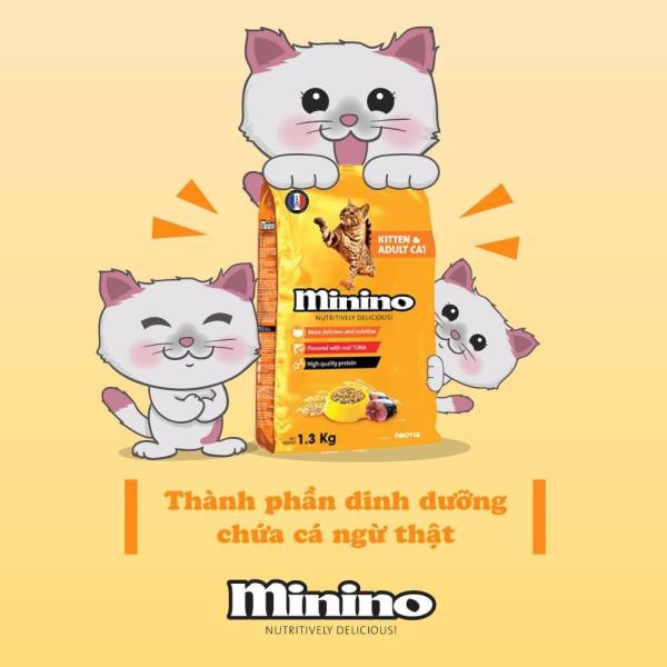 Hanpet-  Thức ăn cho mèo Minino 1.3Kg Thức Ăn Vị Cá Ngừ Dành Cho Mèo Mọi Lứa Tuổi -