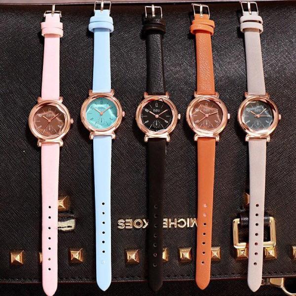 Đồng hồ thời trang nữ DZG mặt tròn dây da DZ37