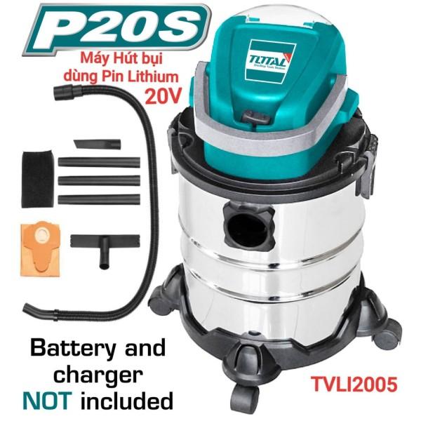 Máy hút bụi 20L dùng pin Lithium‑Ion 20V TOTAL TVLI2005-KHÔNG KÈM PIN VÀ SẠC