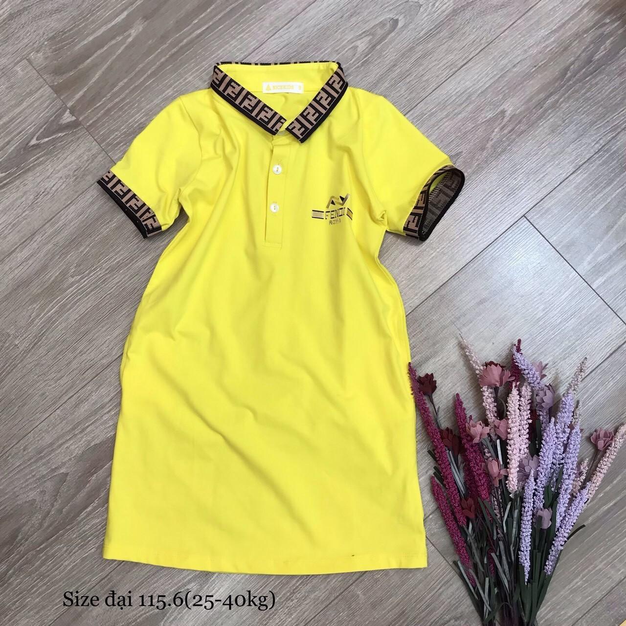 Giá bán Đầm suông, cổ trụ chữ Fendi màu vàng dành cho bé, đủ size, tối đa 40 kg
