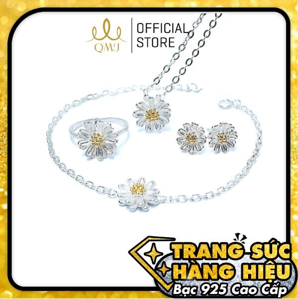 QMJ Bộ trang sức bạc Hoa Cúc Nhí xinh xắn nhụy màu vàng và phần cánh được gia công vô cùng tinh xảo - QBL026