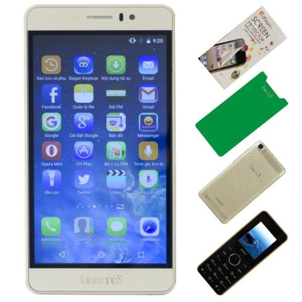 Arbutus Ar7 Plus 8GB ( Vàng) + 1 Dán màn hình + 1 ốp lưng + 1 Cường lực + 1 Điện thoại di động FPT Buk1 - Hàng nhập khẩu