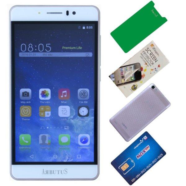 Arbutus Ar7 Plus 8GB ( Vàng hồng ) + 1 Dán màn hình + 1 ốp lưng + 1 Cường lực + 1 SIM 3G/Nghe gọi Vinaphone - Hàng nhập khẩu