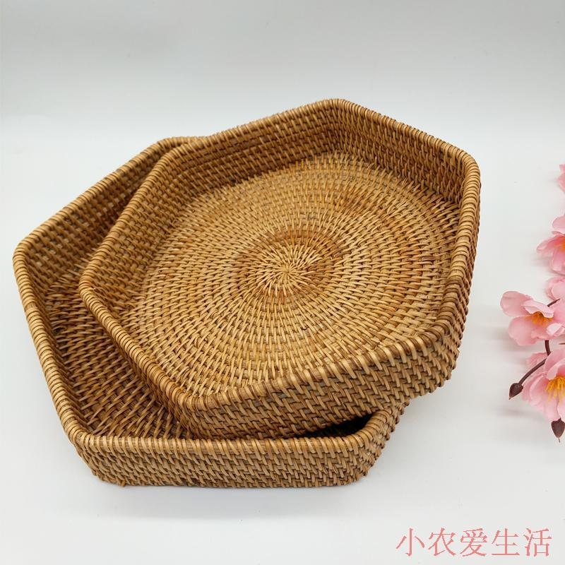 Viet Nam Rattan Fruit Bowl Storage Home Daily Desktop Organizing Hexagon Box Snacks Candy Entirely Handmade Weaving
