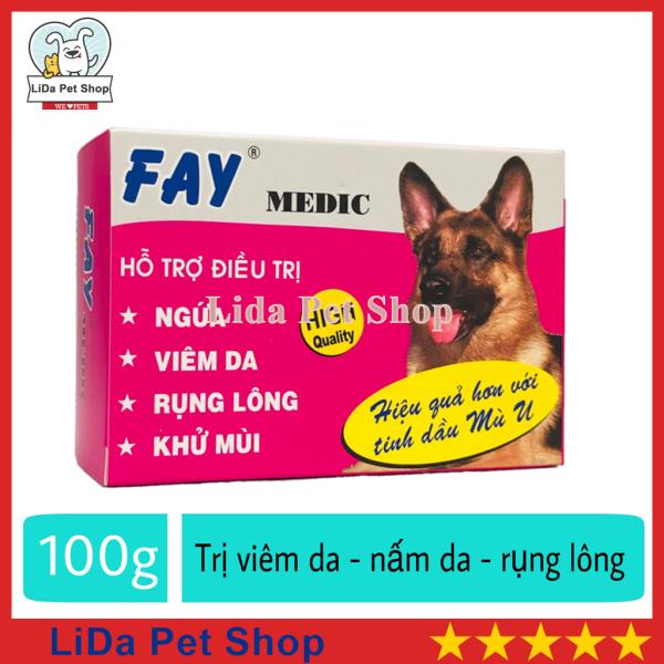 [Lấy mã giảm thêm 30%]HN- Xà phòng tắm trị nấm da rụng lông ve ghẻ chó mèo - Fay Medic 100g - Lida Pet Shop