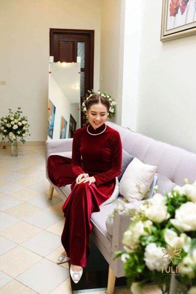 Áo dài nhung Đỏ đô sang chảnh đẹp xuất sắc người ơiii