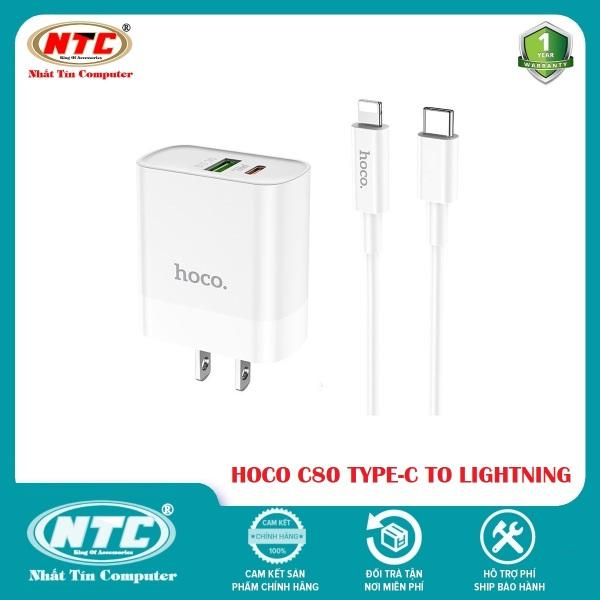 Combo Cốc sạc 2 cổng USB và PD kèm Cáp sạc Type-C to Lightning Hoco C80 QC3.0 và PD20W (Trắng) - Hãng phân phối chính thức - Nhất Tín Computer