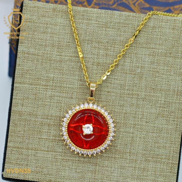 Vòng Cổ, Dây Chuyền Đá Ngọc Đỏ Tinh Tế Titan Xi Mạ Vàng - Trang Sức Nữ Hava