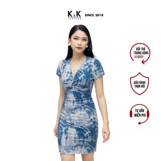 Đầm Thun Công Sở Dáng Ôm Xoắn Ngực Màu Xanh K&K Fashion HL16-30 thumbnail