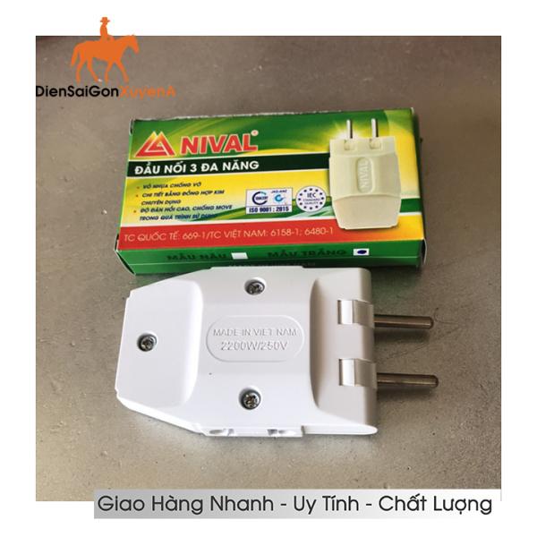 Phích cắm điện thông minh 1 chia 3 ngã 2000W - Phích cắm điện 1 chia 3 NIVAL - Điện Sài Gòn Xuyên Á