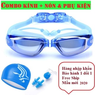 Combo kính bơi mũ bơi - Sét mũ kèm kính bơi, Kính bơi chống lóa kèm Mũ bơi và 2 nút bịt tai. Chất Liệu Cao Cấp Mềm Dẻo Ôm Sát Kiểu dáng thời trang thể hiển cá tính vận động viên bơi lội thumbnail