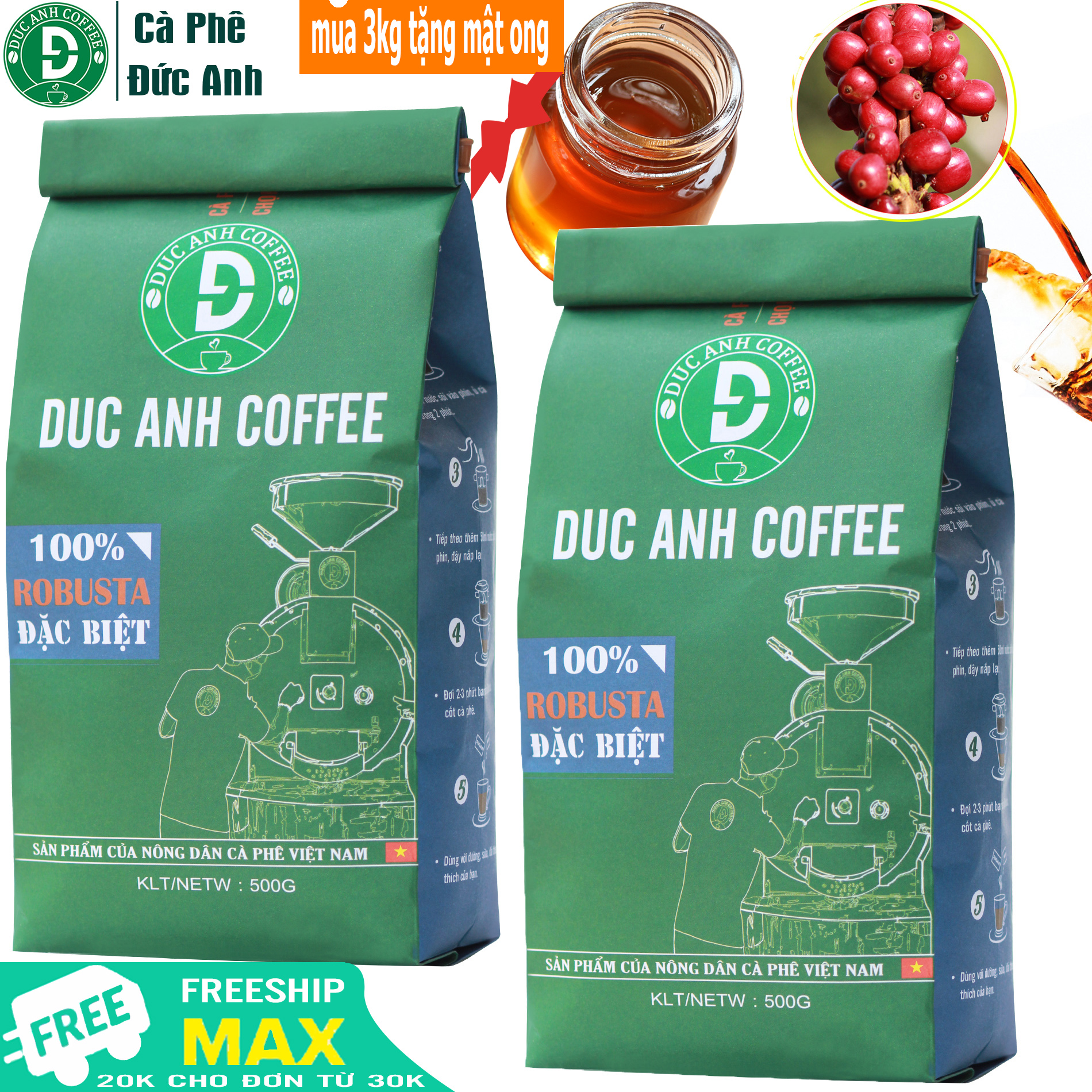 [HCM]1kg Cà Phê Rang Xay Đặc Biệt DUC ANH COFFEE Rang mộc Pha Phin - 100% Robusta Thượng Hạng - chọn trái chín - Sản phẩm cà phê rang xay nguyên chất bán chạy top 1 - Túi Xanh - tặng mật ong nguyên chất cho đơn từ 299k