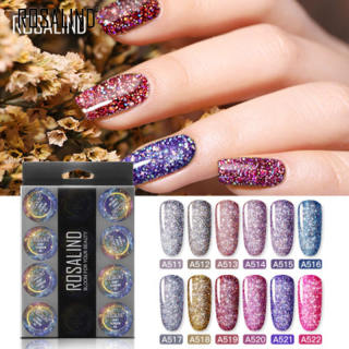 Rosalind 12 Cái Lấp Lánh Cầu Vồng Gel Nail Polish Set Ngâm Tắt UV LED Glitter Làm Móng Tay Nail Art Gel