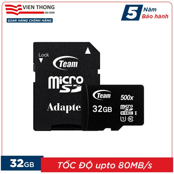 Thẻ nhớ 32GB micro SDHC Team 500x upto 80MB/s class 10 kèm Adapter (Đen) - Hãng phân phối chính thức