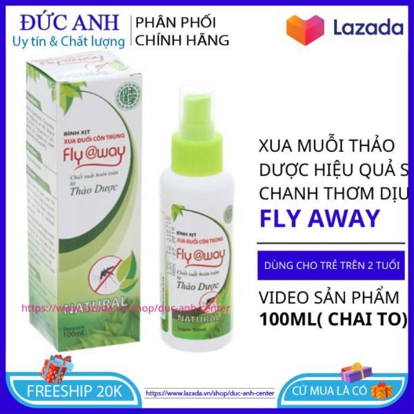 Xịt chống muỗi và côn trùng cho bé và người lớn Fly Away hương chanh xả thơm dịu nhẹ chai to 100ml - tinh dầu đuổi muỗi cao cấp