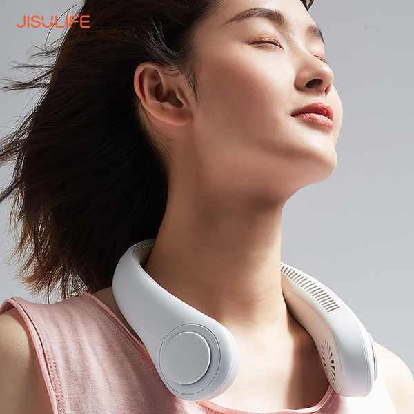 Quạt mini đeo cổ không cánh Jisulife FA12 - Biên độ thổi rộng 360 độ, kết cấu dẫn gió dốc nghiêng tạo cảm giác mát mẻ