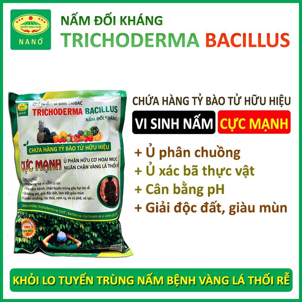 1kg Nấm đối kháng TRICHODERMA BACILLUS cực mạnh - Chế phẩm sinh học ủ phân chuồng hoai mục - Ngăn chặn vàng lá thối rễ - Cải tạo đất