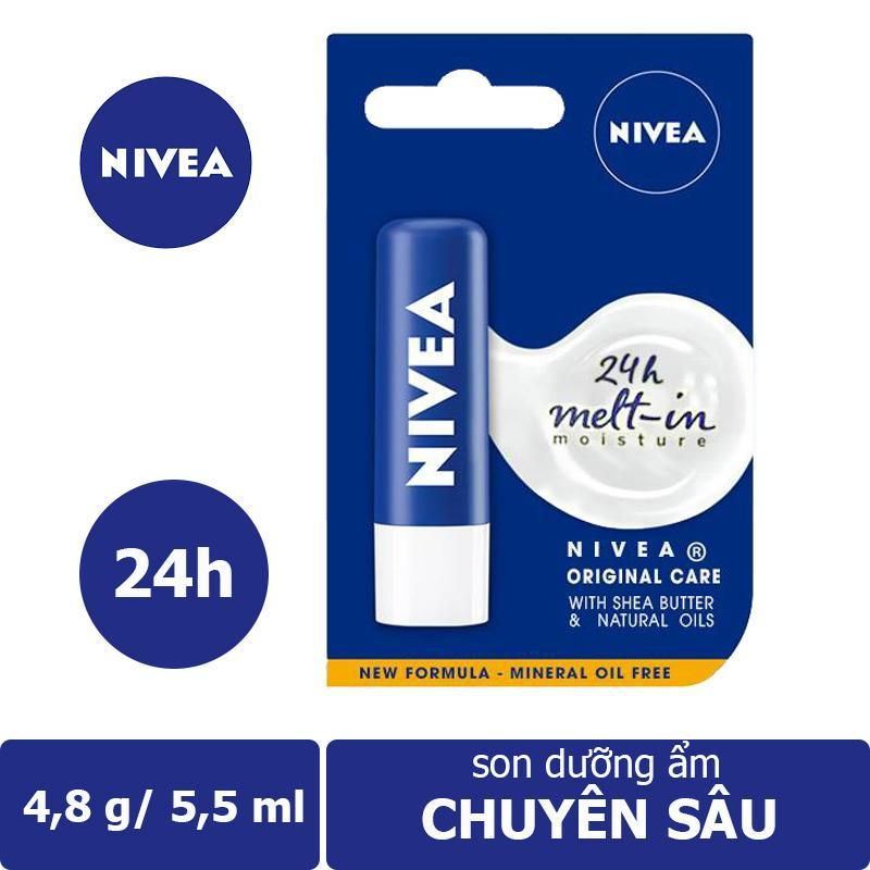 Son dưỡng ẩm chuyên sâu Nivea Original Care (4,8g) - Giúp môi bạn luôn được mềm mại