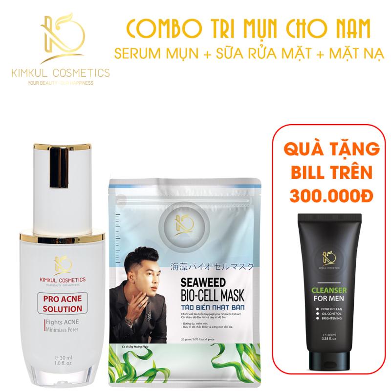 Combo giảm mụn cho Nam KimKul (Pro Acne Solution + Mặt Nạ Bio-Cell Mask) - Bộ combo hỗ trợ xóa mụn nhanh cho Nam giá rẻ