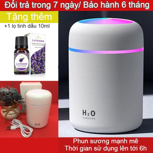 [Tặng Tinh Dầu Khi Mua 2 Sản Phẩm] Máy phun sương tạo độ ẩm Mini, máy khuếch tán tinh dầu thơm đèn Led 7 màu nhiều chức năng dung tích 300ml - Màu hồng và màu trắng và màu đen