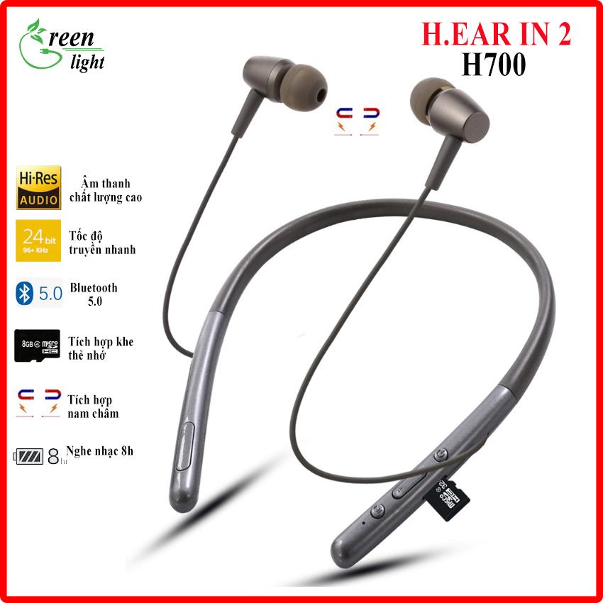 Tai nghe wireless H.ear In 2 WI-H700 GREEN LIGHT cao cấp, tai nghe bluetooth không dây pin trâu bass mạnh hỗ trợ thẻ nhớ nghe nhạc 10 giờ