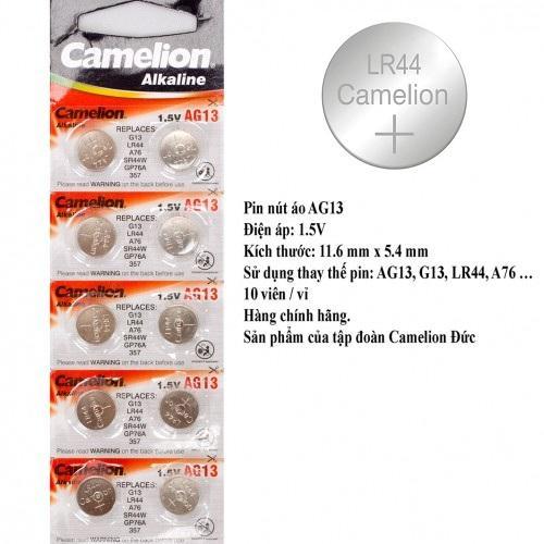 Giá Vỉ 10 Viên Pin Nút AG13 Camelion LR44 1.5V (bạc) BT75