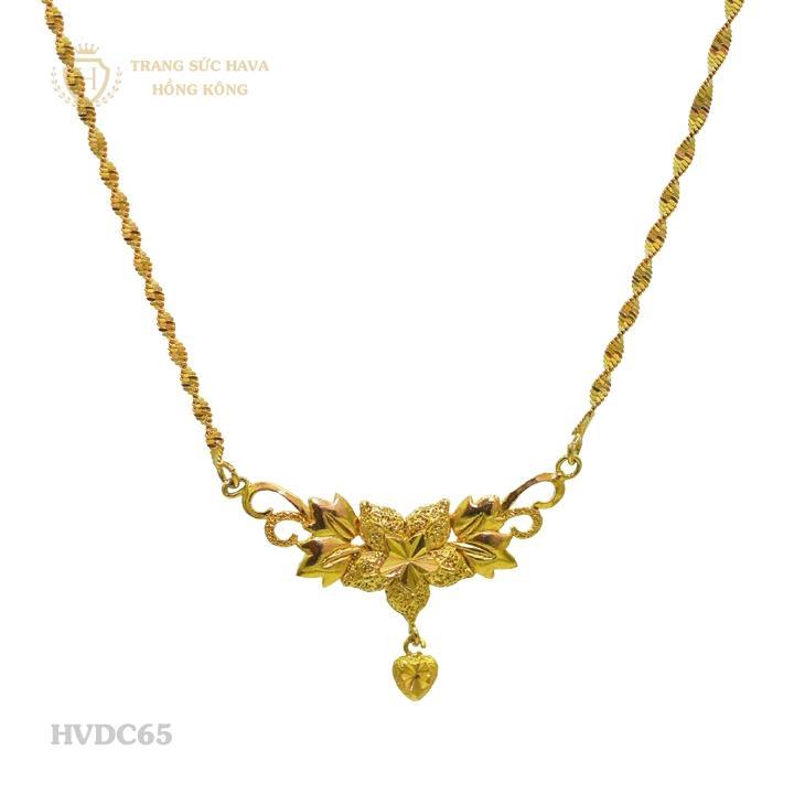 Vòng Cổ, Dây Chuyền Nữ Mặt Hoa Mai Titan Xi Mạ Vàng - Trang Sức Hava Hồng Kông