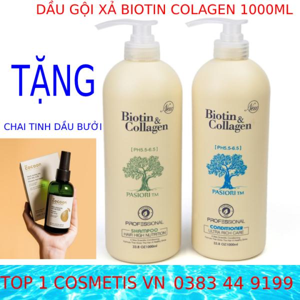 (FreeShip)  Cặp Dầu Gội Đầu Biotin collagen trắng size 500ml 1000ml dầu gội ngăn ngừa rụng tóc phục hồi tóc khô sơ, chất tóc nhiều dầu dùng cho nam nữ đủ size 500ml 1000ml cao cấp