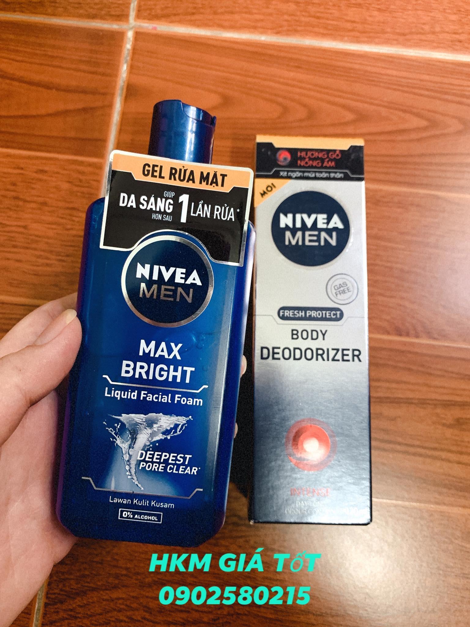Combo Gel Rửa Mặt Nivea Men 150ml + Xịt Ngăn Mùi Toàn Thân Nivea Men 120ml nhập khẩu