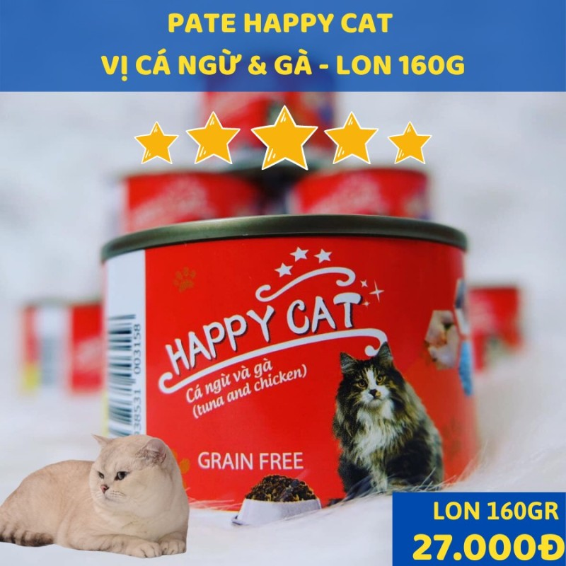 [Lấy mã giảm thêm 30%]Pate Happy Cat cho mèo mọi lứa tuổi lon 160gr date 2023 vị cá ngừ - cá ngừ thanh cua - cá ngừ cá cơm - Cá Ngừ