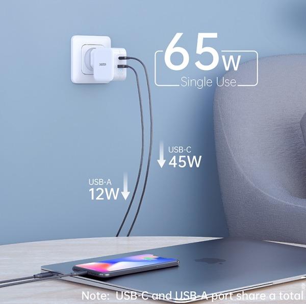 Bộ sạc USB Type-C CHOETECH 65W sạc nhanh 3.0A, cổng kép, dùng cho  MacBook Pro/Air Dell XPS iPad Pro iPhone 11/11 Pro/11 Pro Max Galaxy Pixel - INTL