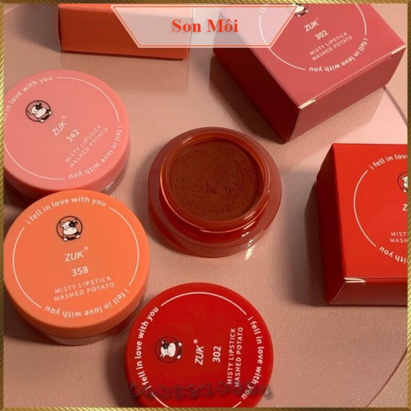 Hũ son môi kiêm má hồng Zuk Misty Lipstick Mashed Potato tặng kèm cọ ZML3