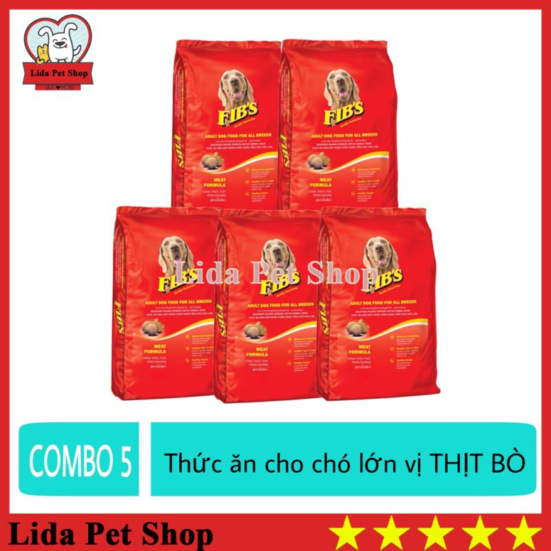 HN- (COMBO 5 GÓI) Fib 400g Thức ăn cho chó lớn vị thị bò - Thức ăn cho mọi loại chó trươ-ng tha-nh